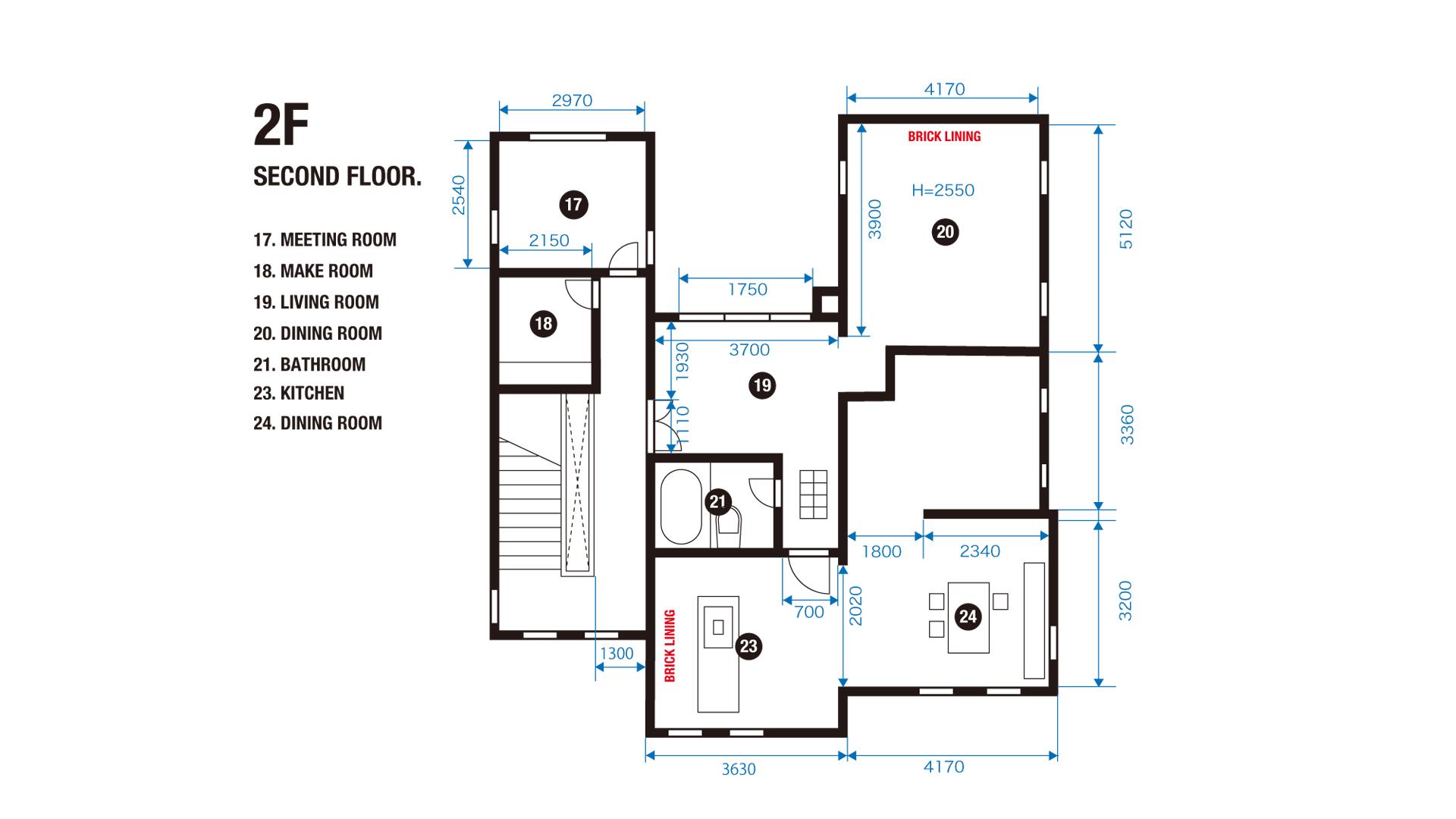 SECOND FLOOR. 2F